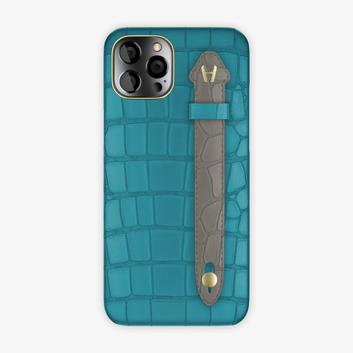 Alligator Side Finger Case iPhone 12 Pro Max | Blue Teal/Grey - Yellow Gold