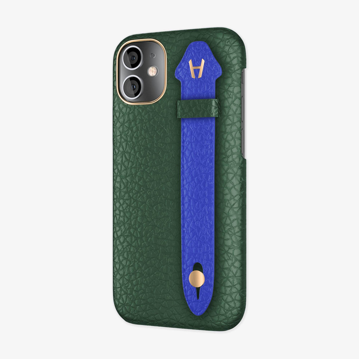 Calfskin Side Finger Case iPhone 12 Mini | Green/Peony Blue - Rose Gold