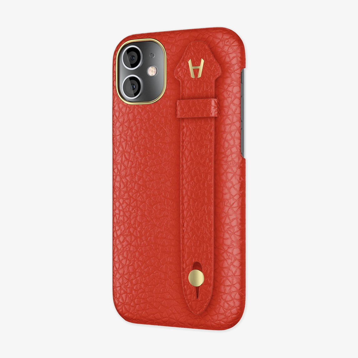 Calfskin Side Finger Case iPhone 12 Mini | Red/Red - Yellow Gold
