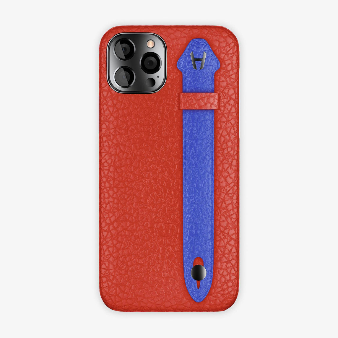Calfskin Side Finger Case iPhone 12 Pro | Red/Peony Blue - Black