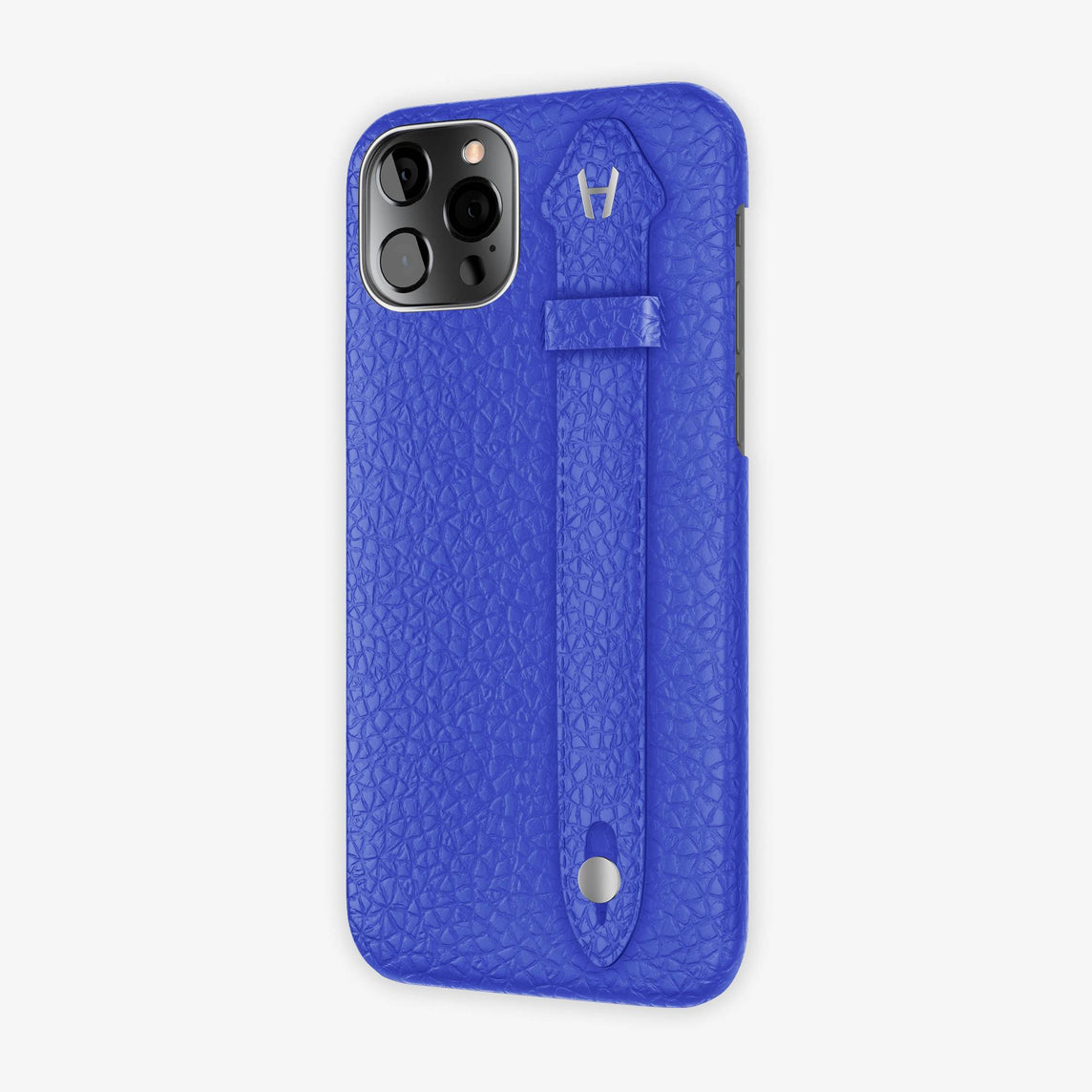 Calfskin Side Finger Case iPhone 12 Pro | Peony Blue/Peony Blue - Stainless Steel