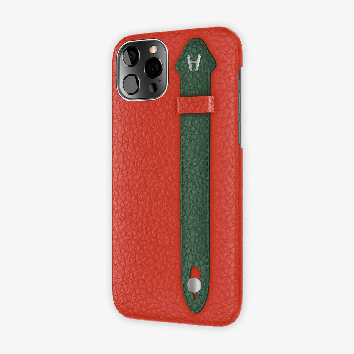 Calfskin Side Finger Case iPhone 12 Pro | Red/Green - Stainless Steel