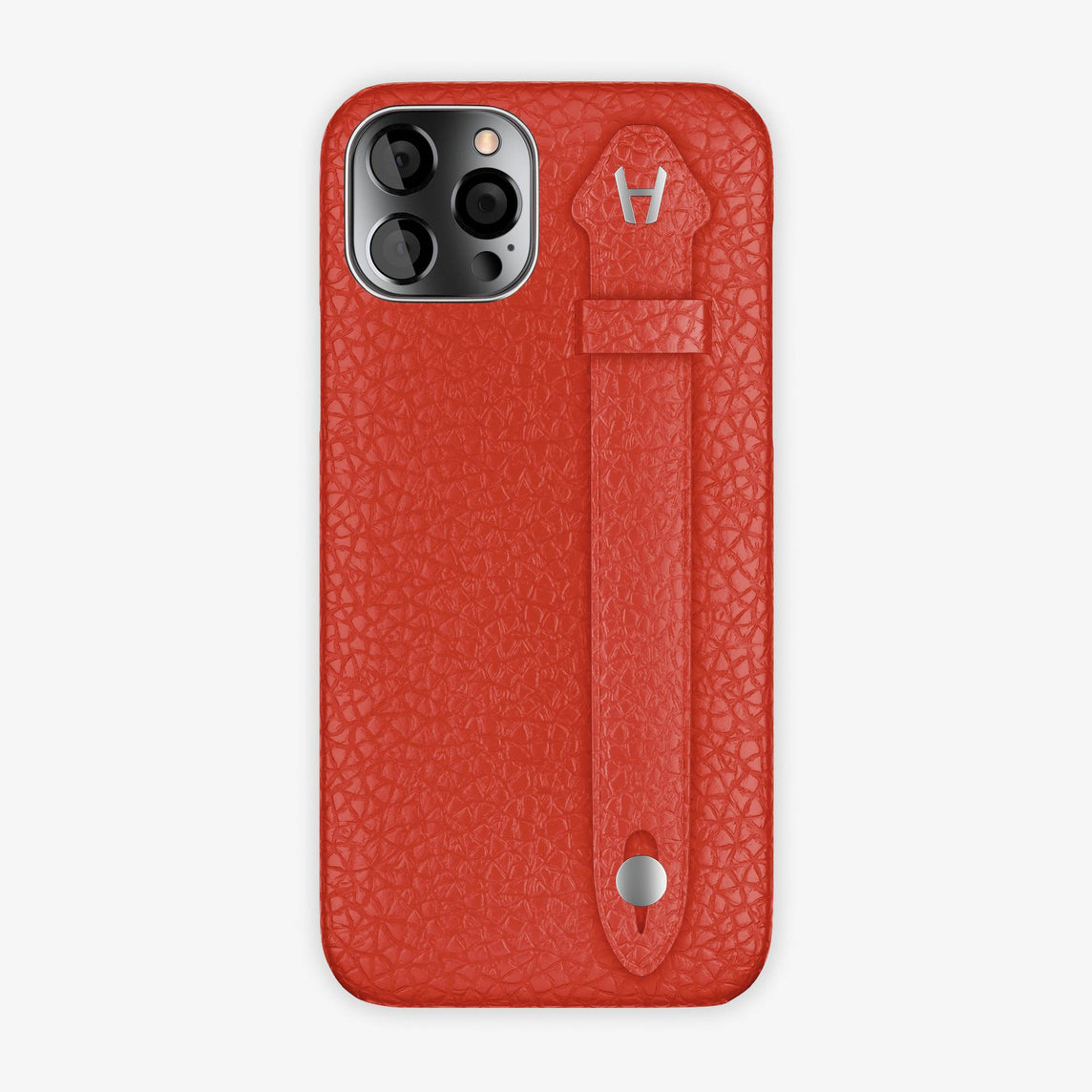 Calfskin Side Finger Case iPhone 12 Pro | Red/Red - Stainless Steel