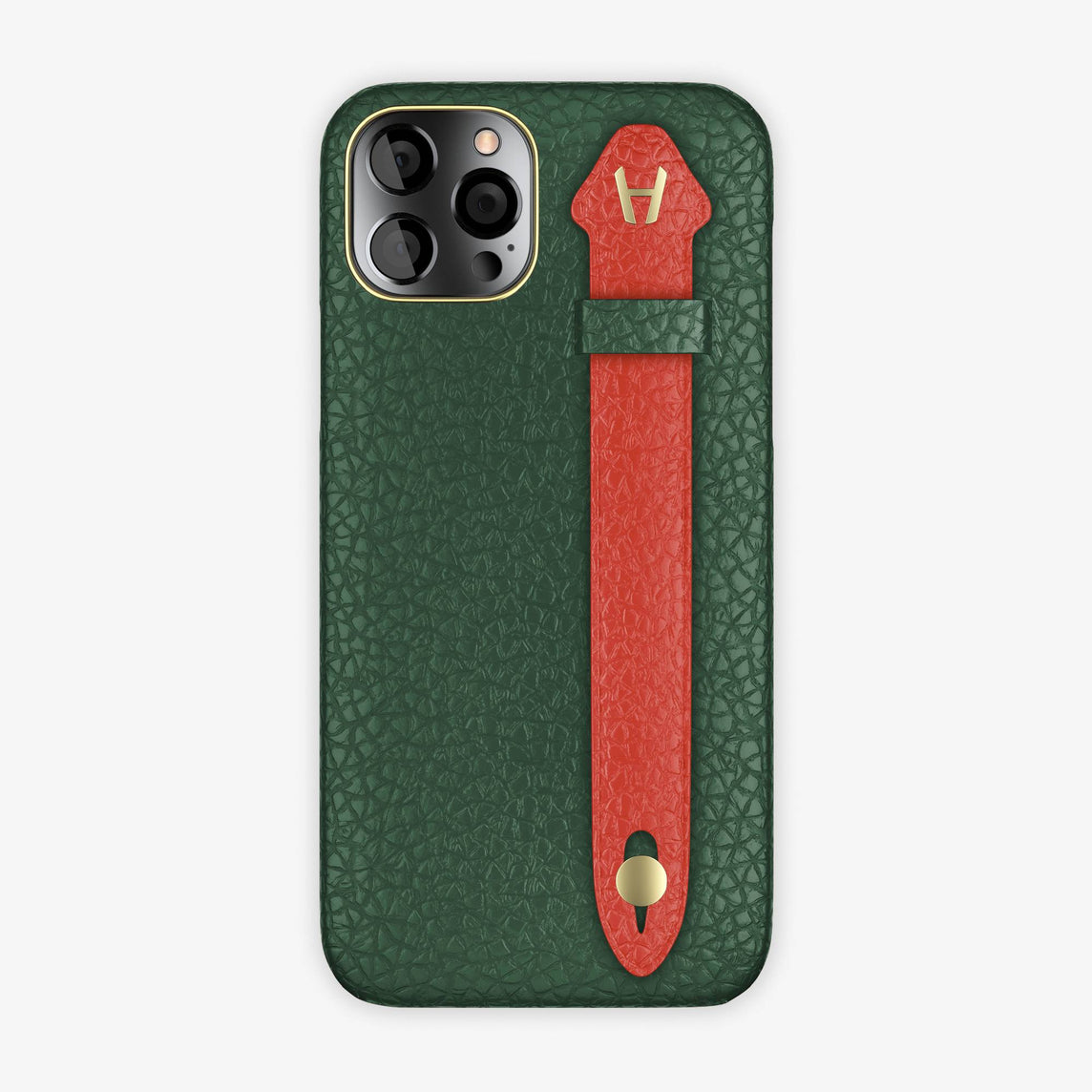 Calfskin Side Finger Case iPhone 12 Pro | Green/Red - Yellow Gold