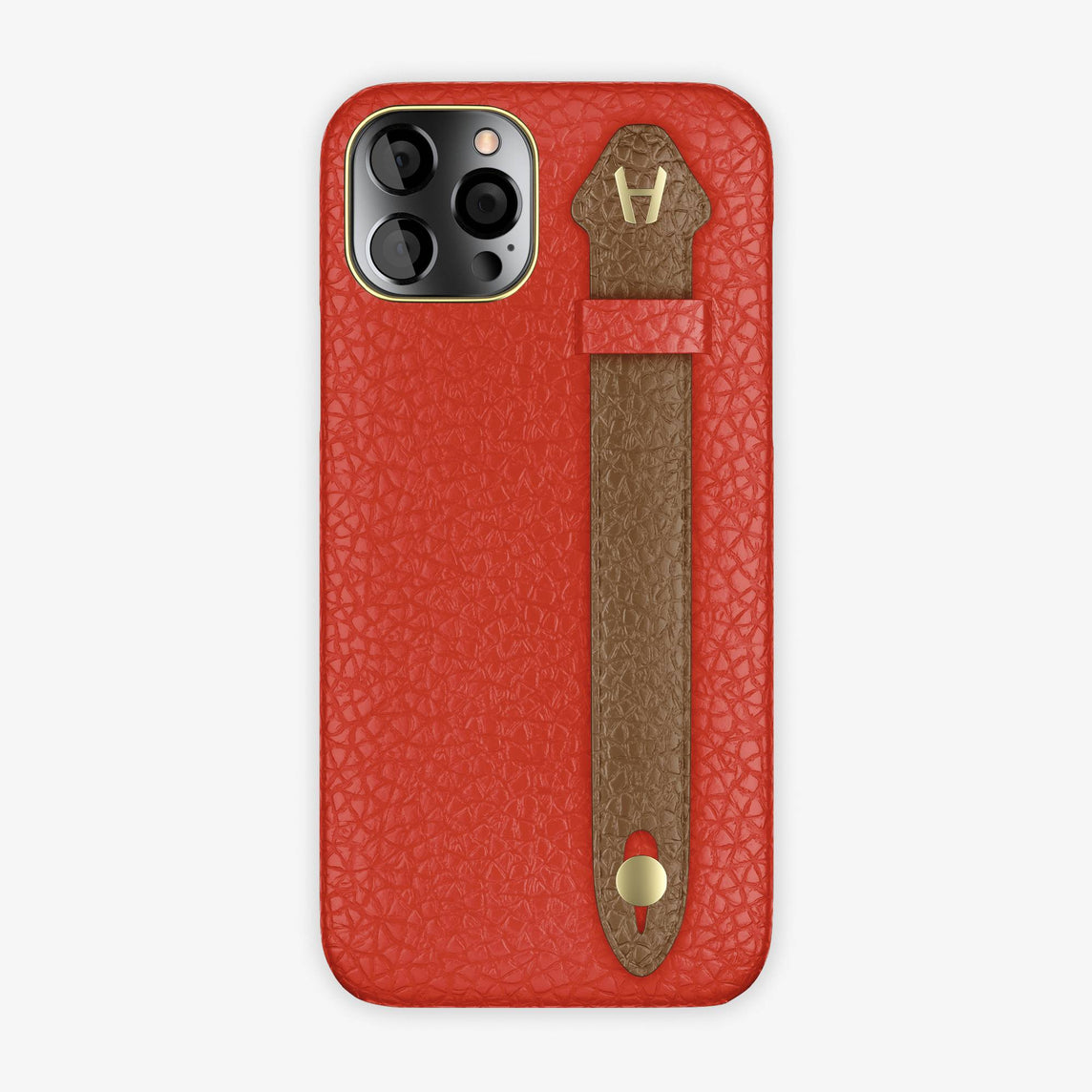 Calfskin Side Finger Case iPhone 12 Pro | Red/Brown - Yellow Gold