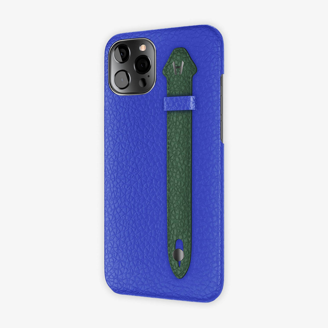 Calfskin Side Finger Case iPhone 12 Pro Max | Peony Blue/Green - Black
