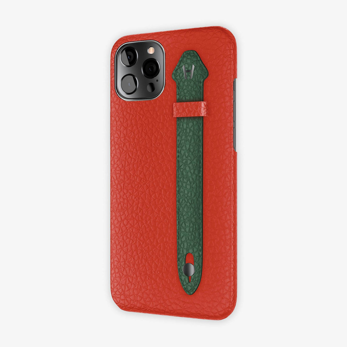 Calfskin Side Finger Case iPhone 12 Pro Max | Red/Green - Black