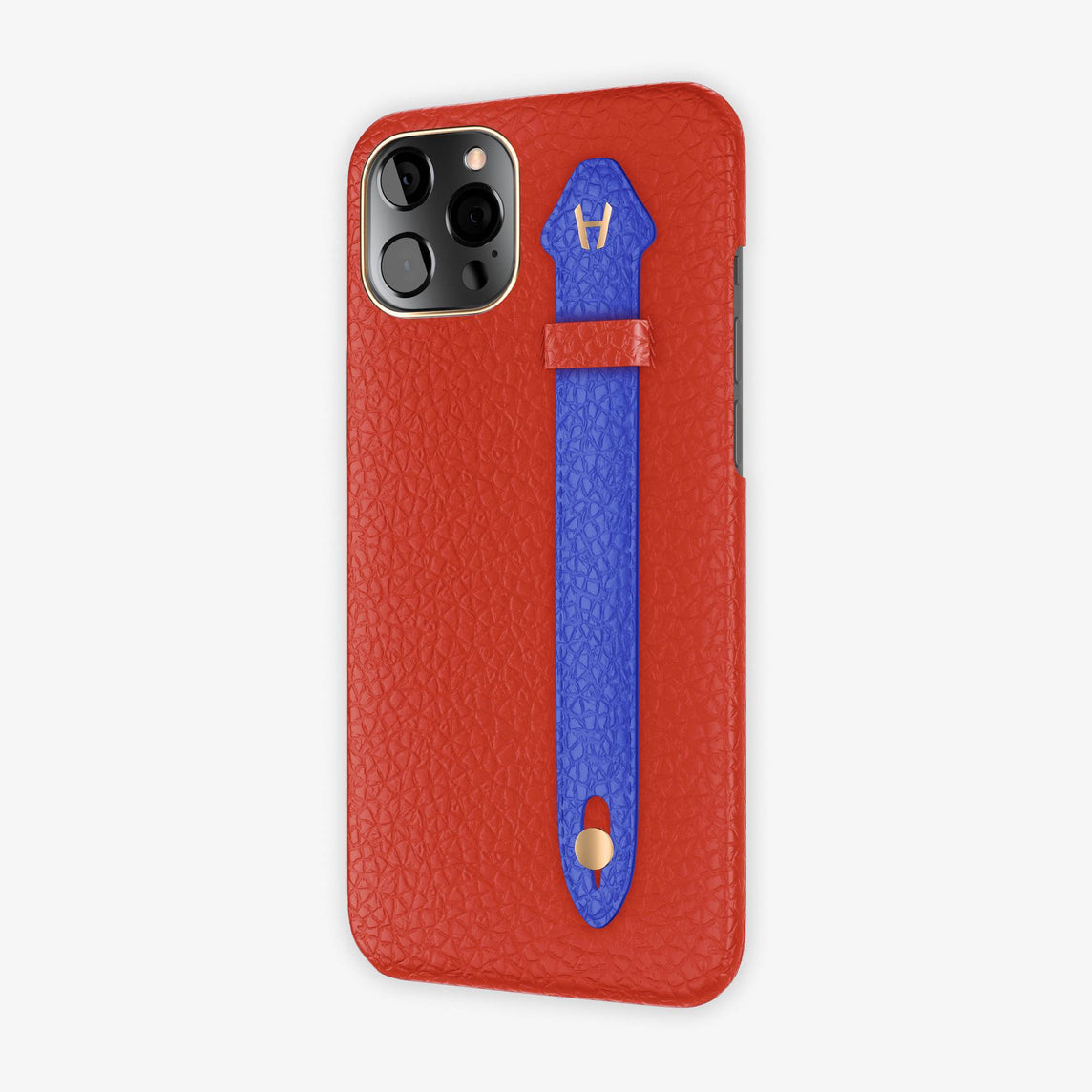 Calfskin Side Finger Case iPhone 12 Pro Max | Red/Peony Blue - Rose Gold