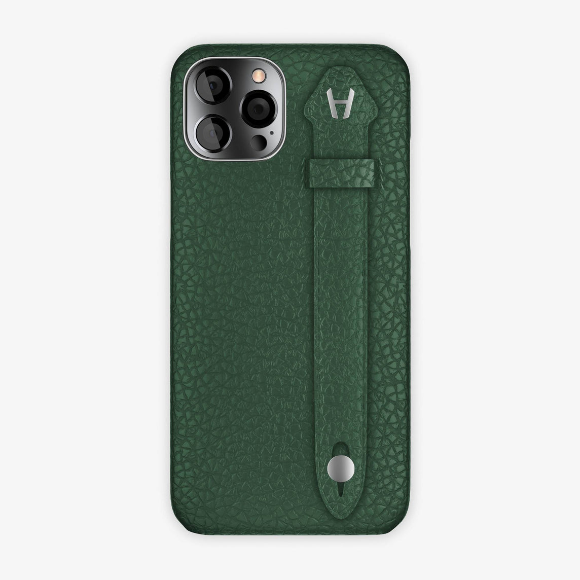 Calfskin Side Finger Case iPhone 12 Pro Max | Green/Green - Stainless Steel