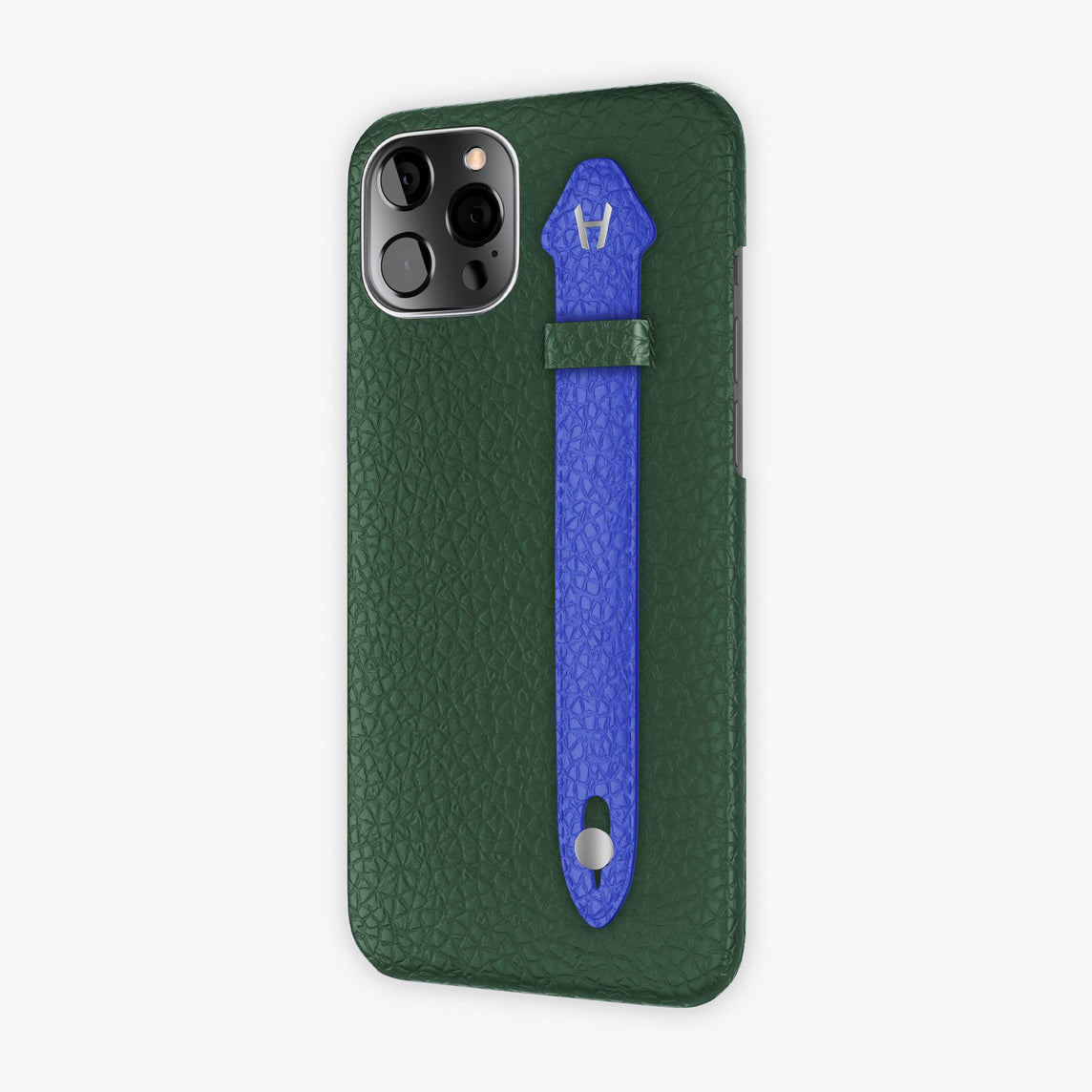 Calfskin Side Finger Case iPhone 12 Pro Max | Green/Peony Blue - Stainless Steel