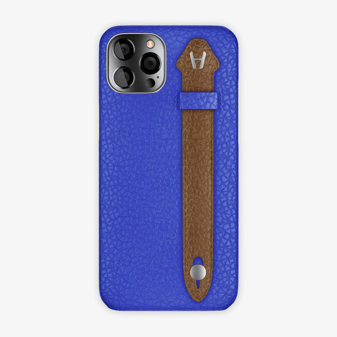 Calfskin Side Finger Case iPhone 12 Pro Max | Peony Blue/Brown - Stainless Steel