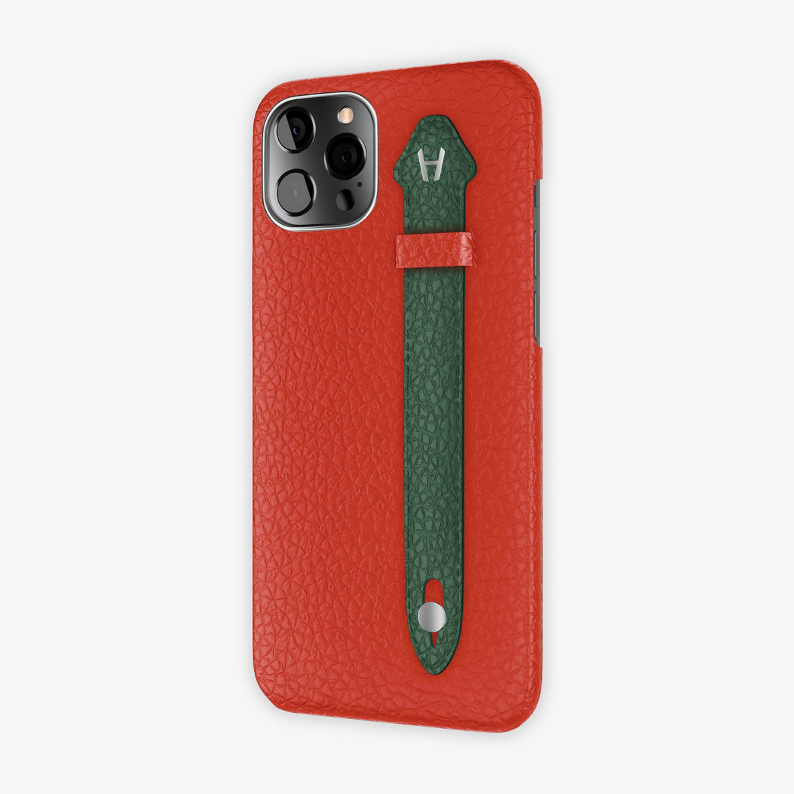 Calfskin Side Finger Case iPhone 12 Pro Max | Red/Green - Stainless Steel