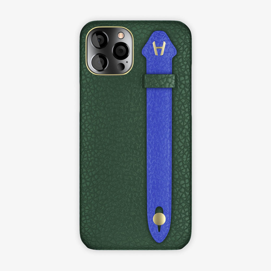 Calfskin Side Finger Case iPhone 12 Pro Max | Green/Peony Blue - Yellow Gold