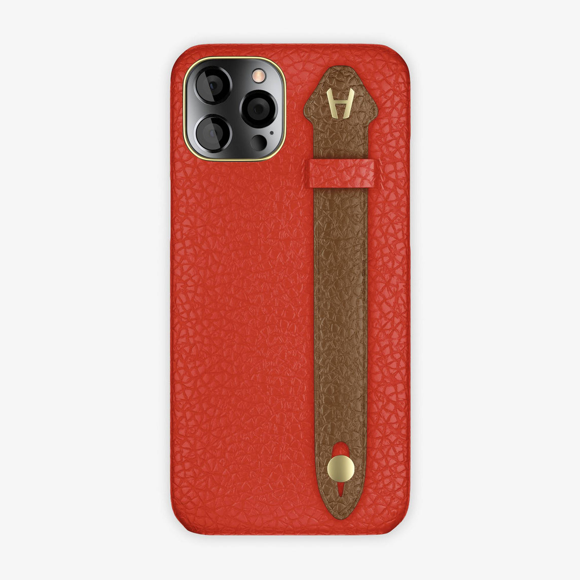 Calfskin Side Finger Case iPhone 12 Pro Max | Red/Brown - Yellow Gold
