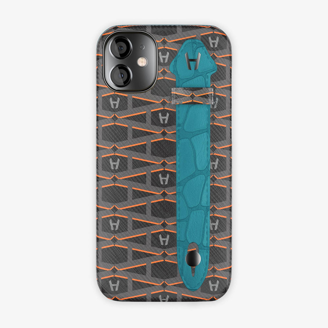 Monogram Side Finger Case iPhone 12 Mini | Black/Alligator Blue Teal - Black