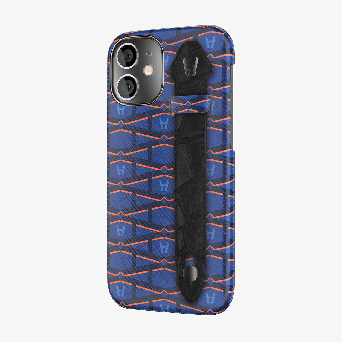 Monogram Side Finger Case iPhone 12 Mini | Navy Blue/Alligator Black - Black