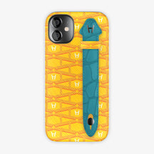 Monogram Side Finger Case iPhone 12 Mini | Yellow/Alligator Blue Teal - Black