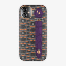 Monogram Side Finger Case iPhone 12 Mini | Black/Alligator Purple - Rose-Gold