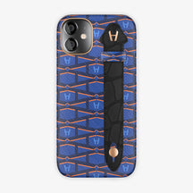 Monogram Side Finger Case iPhone 12 Mini | Navy Blue/Alligator Black - Rose-Gold