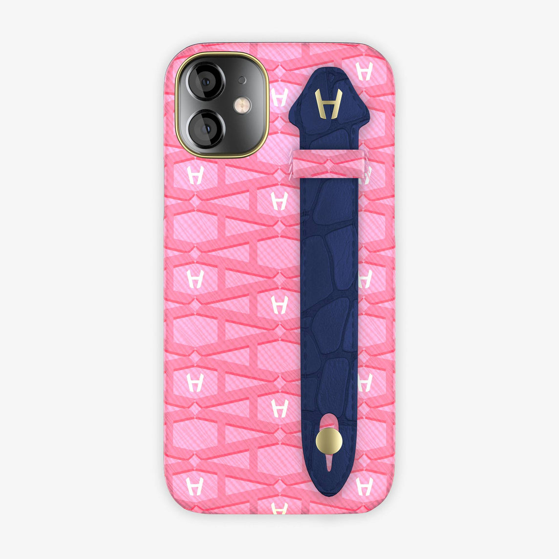 Monogram Side Finger Case iPhone 12 Mini | Pink/Alligator Navy Blue - Yellow-Gold