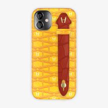 Monogram Side Finger Case iPhone 12 Mini | Yellow/Alligator Red - Yellow-Gold