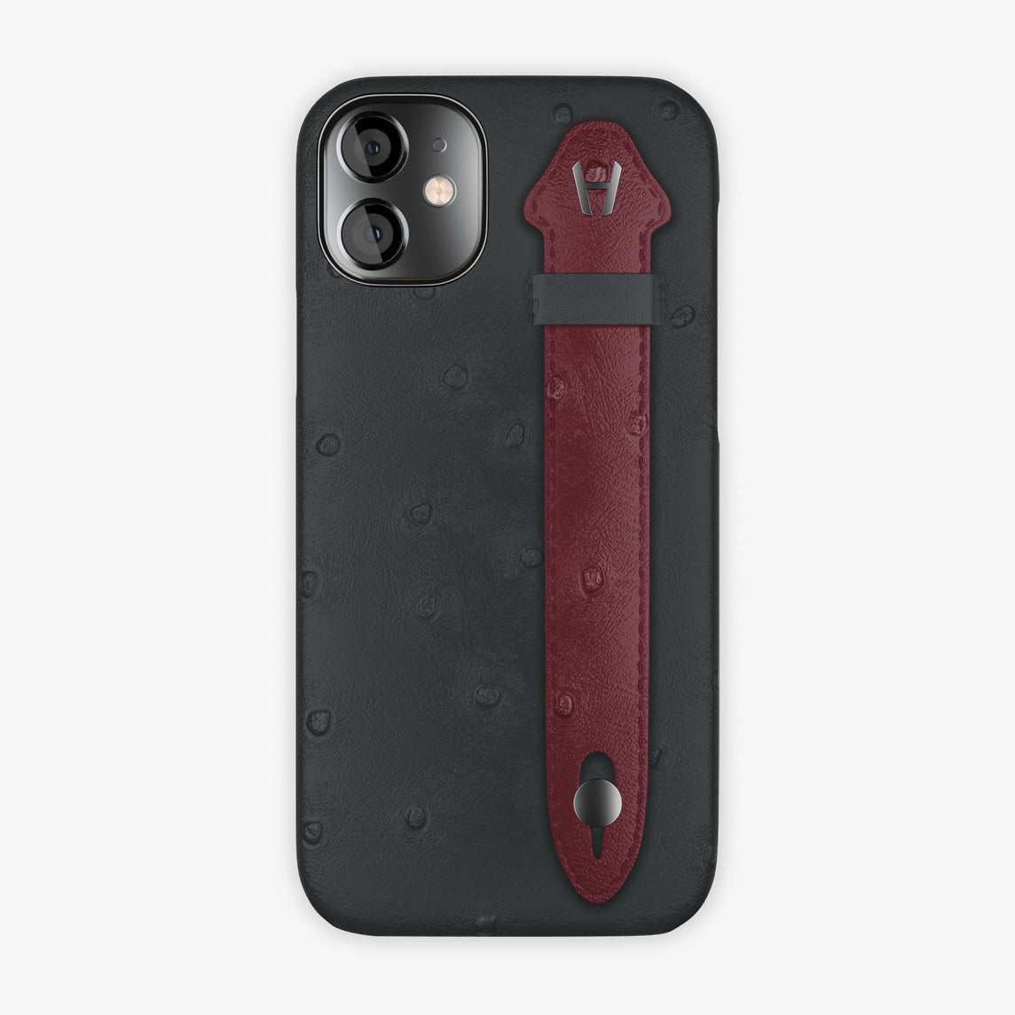 Ostrich Side Finger Case iPhone 12 Mini | Anthracite/Burgundy  - Black