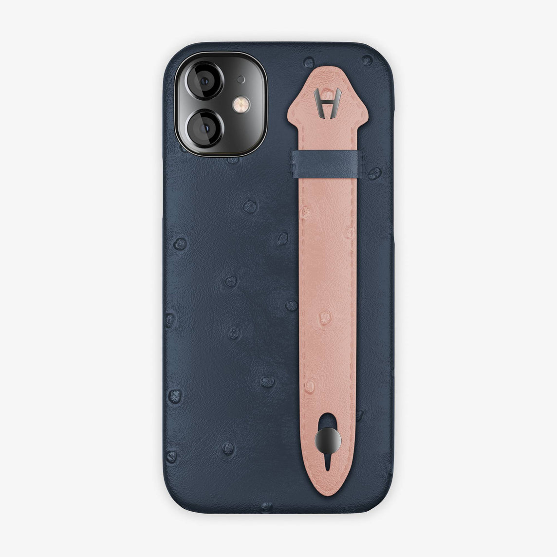 Ostrich Side Finger Case iPhone 12 Mini | Navy Blue/Pink - Black