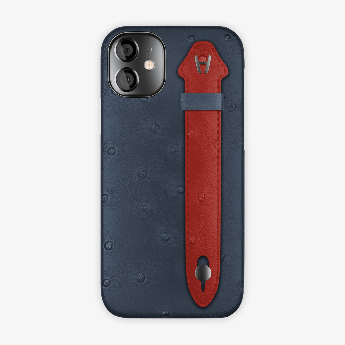 Ostrich Side Finger Case iPhone 12 Mini | Navy Blue/Red - Black