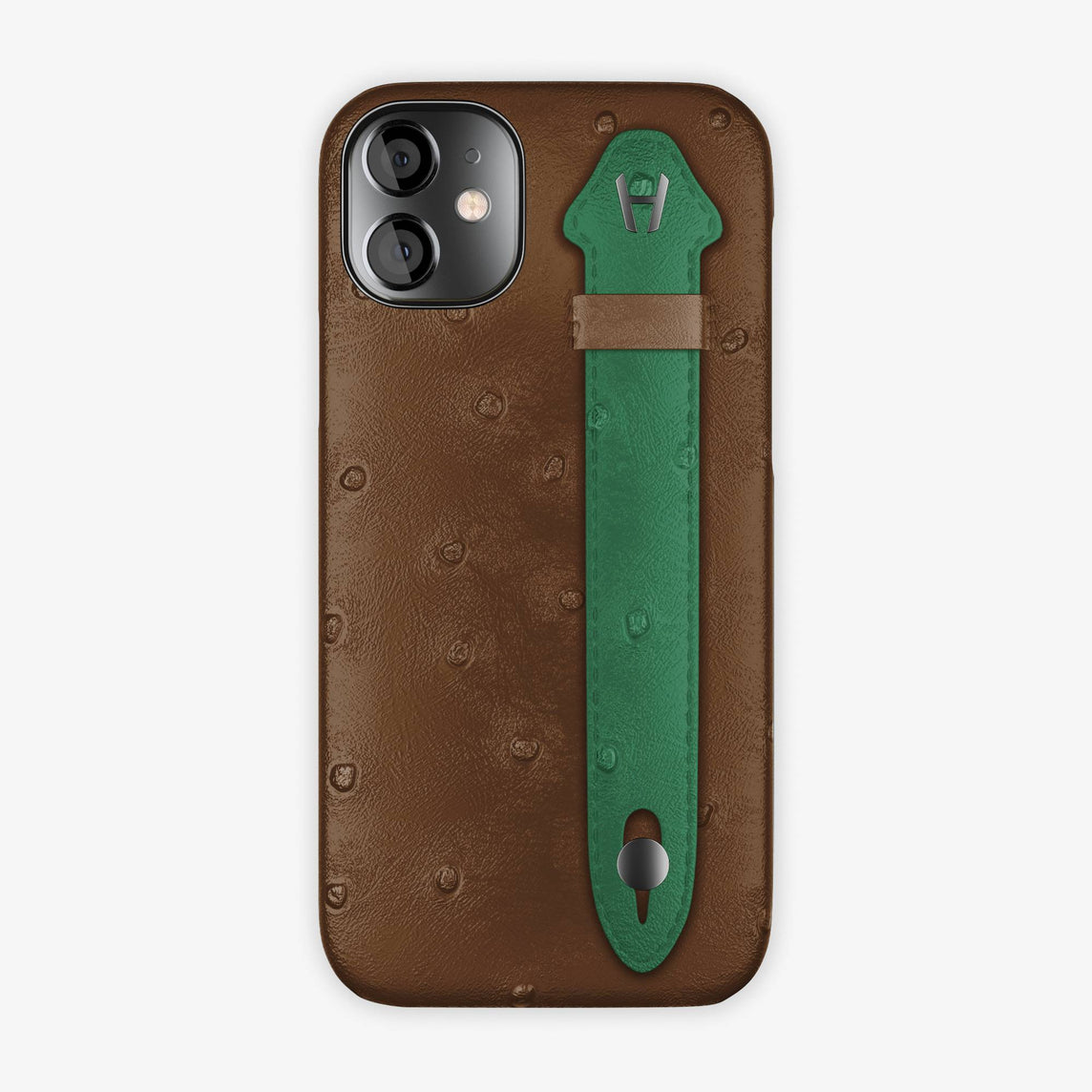 Ostrich Side Finger Case iPhone 12 Mini | Tobacco/Green - Black