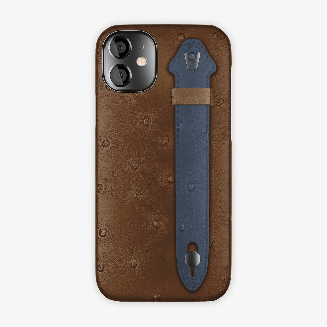 Ostrich Side Finger Case iPhone 12 Mini | Tobacco/Navy Blue - Black