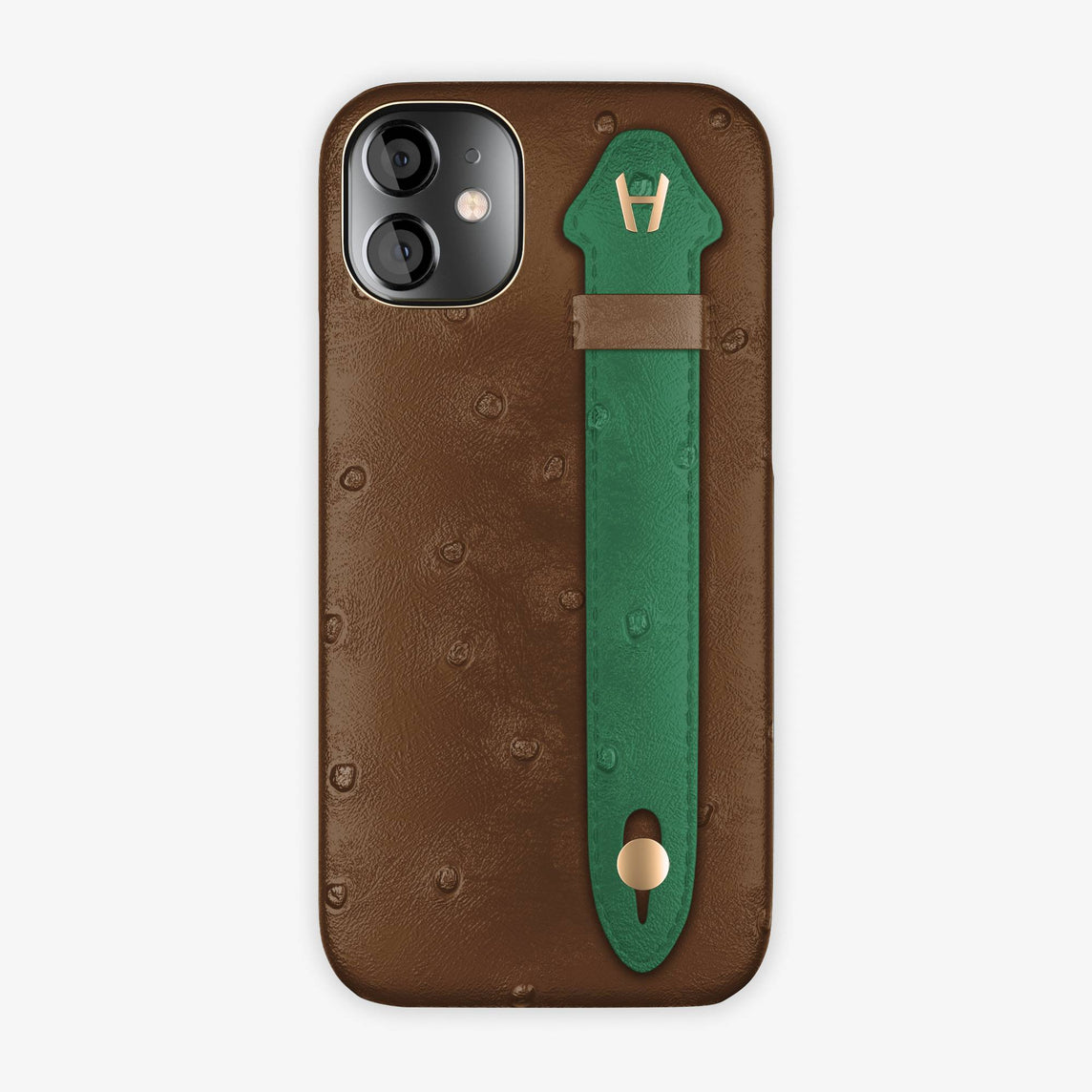 Ostrich Side Finger Case iPhone 12 Mini | Tobacco/Green - Rose Gold