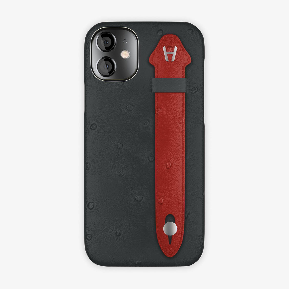 Ostrich Side Finger Case iPhone 12 Mini | Anthracite/Red - Stainless Steel