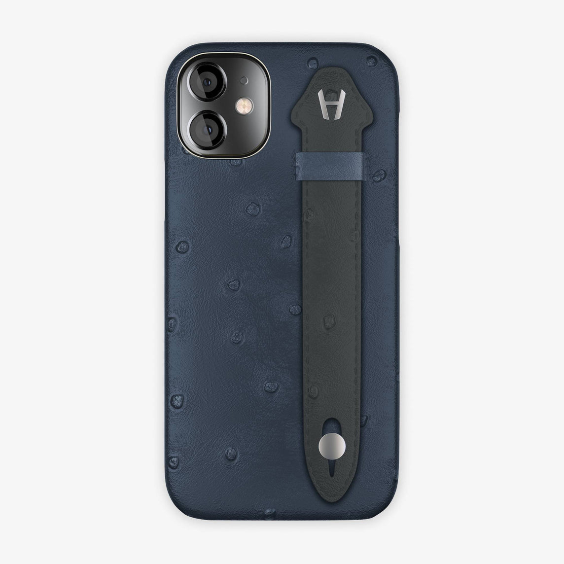 Ostrich Side Finger Case iPhone 12 Mini | Navy Blue/Anthracite - Stainless Steel
