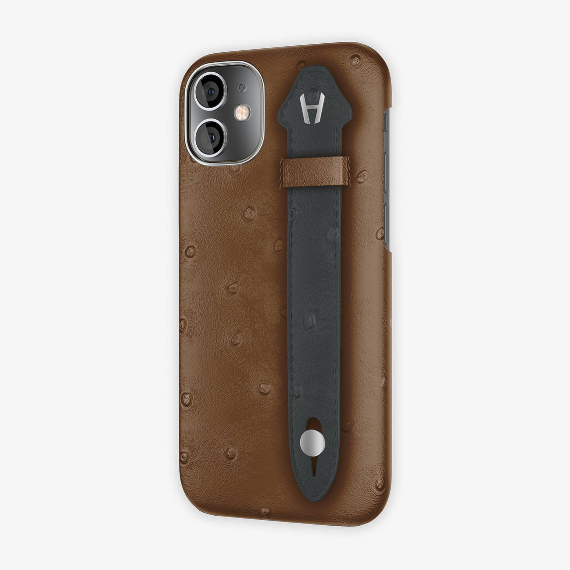 Ostrich Side Finger Case iPhone 12 Mini | Tobacco/Anthracite - Stainless Steel