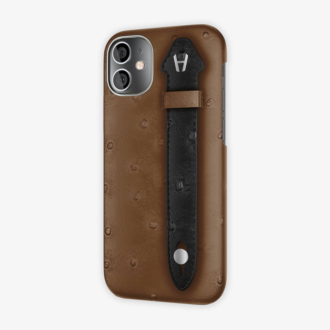 Ostrich Side Finger Case iPhone 12 Mini | Tobacco/Black - Stainless Steel