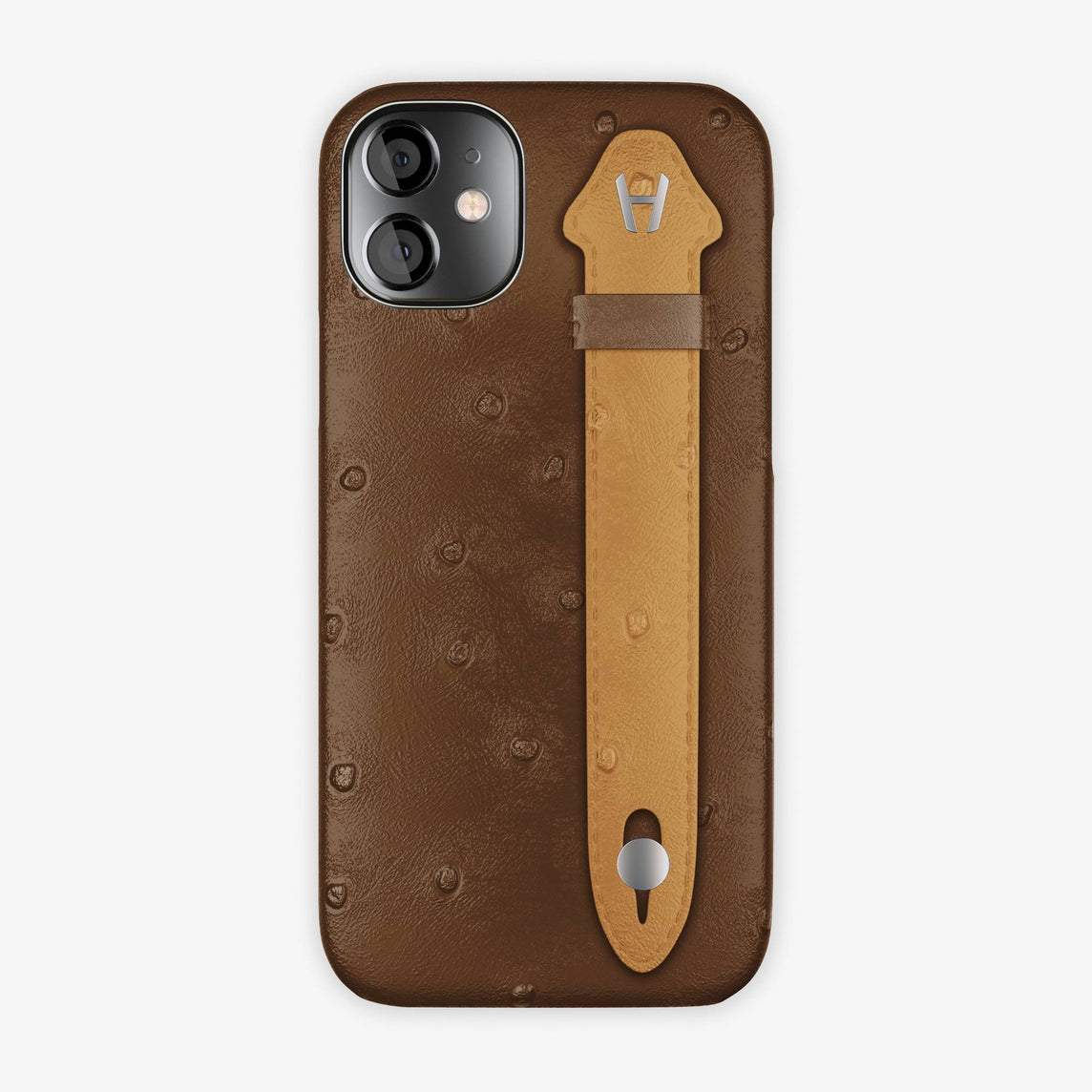 Ostrich Side Finger Case iPhone 12 Mini | Tobacco/Chestnut - Stainless Steel