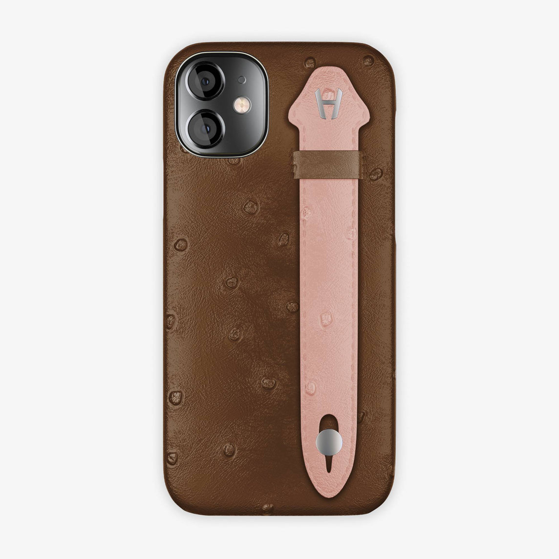 Ostrich Side Finger Case iPhone 12 Mini | Tobacco/Pink - Stainless Steel