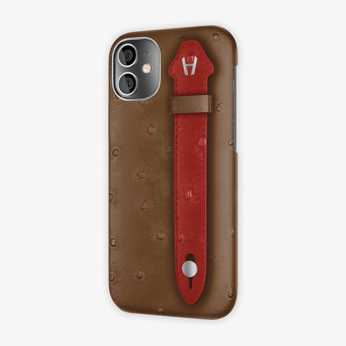 Ostrich Side Finger Case iPhone 12 Mini | Tobacco/Red - Stainless Steel