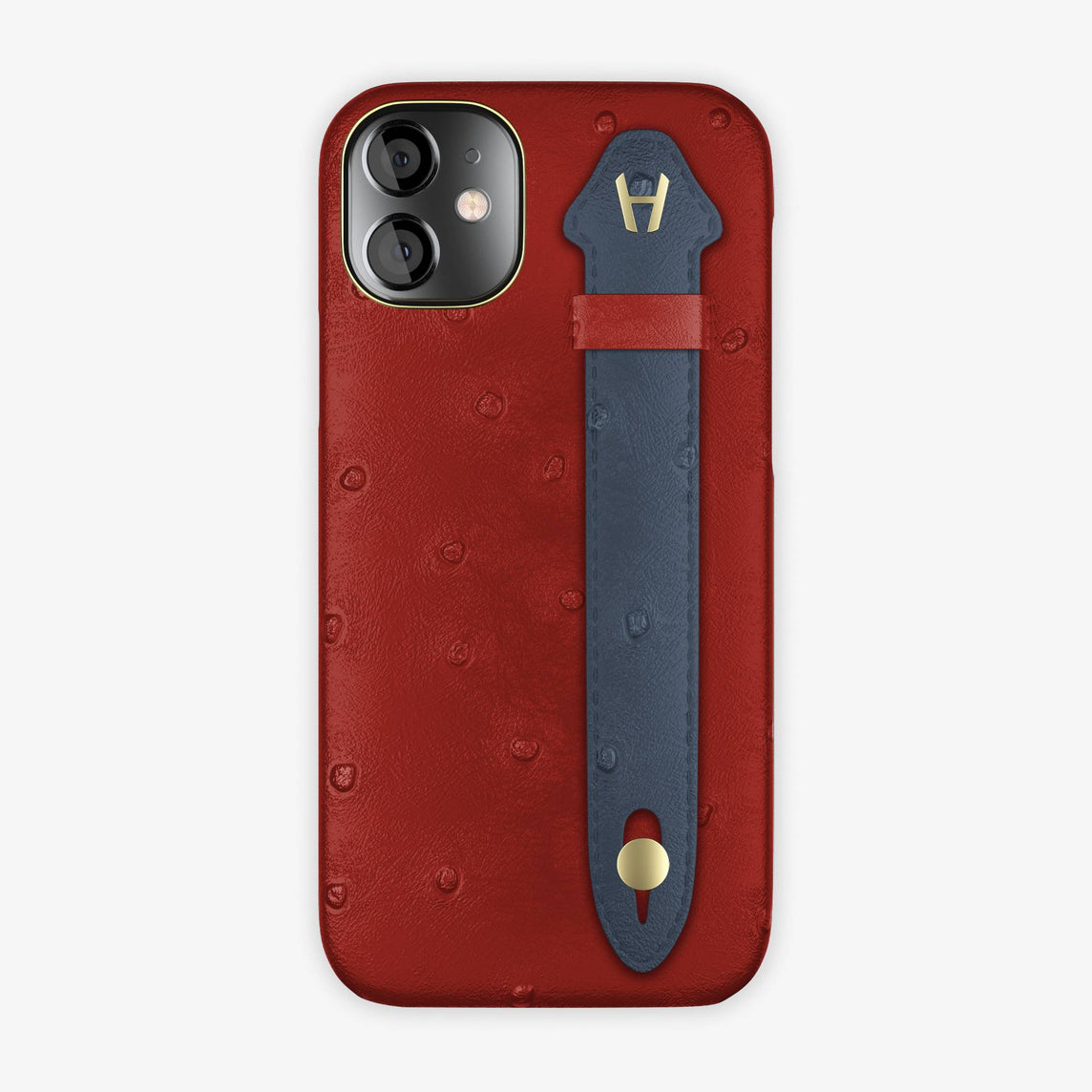 Ostrich Side Finger Case iPhone 12 Mini | Red/Navy Blue - Yellow Gold