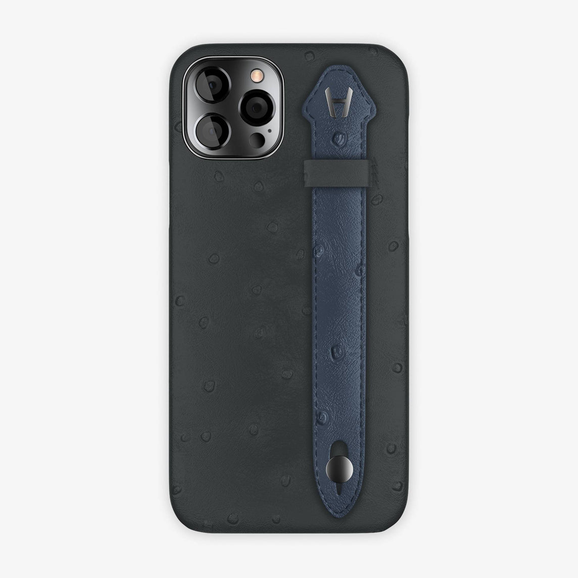 Ostrich Side Finger Case iPhone 12 Pro | Anthracite/Navy Blue - Black