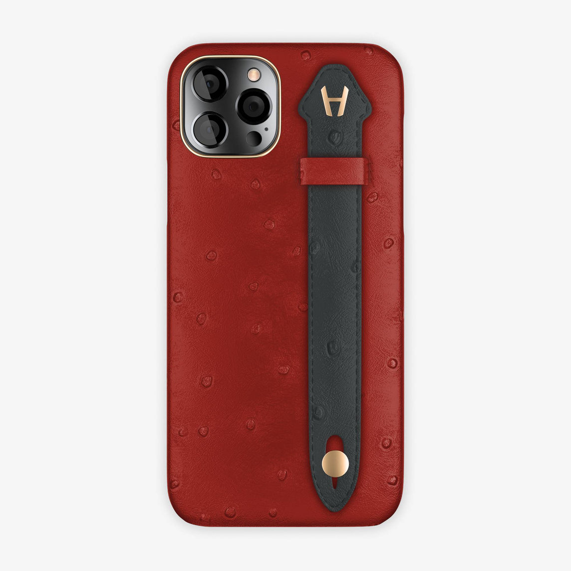 Ostrich Side Finger Case iPhone 12 Pro | Red/Anthracite - Rose Gold