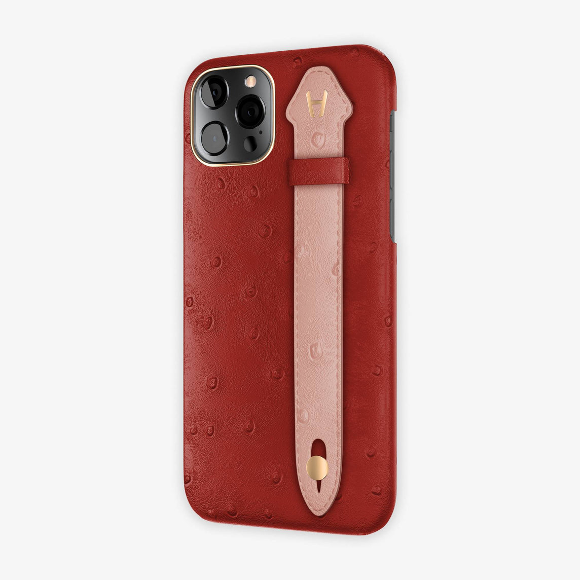 Ostrich Side Finger Case iPhone 12 Pro | Red/Pink - Rose Gold