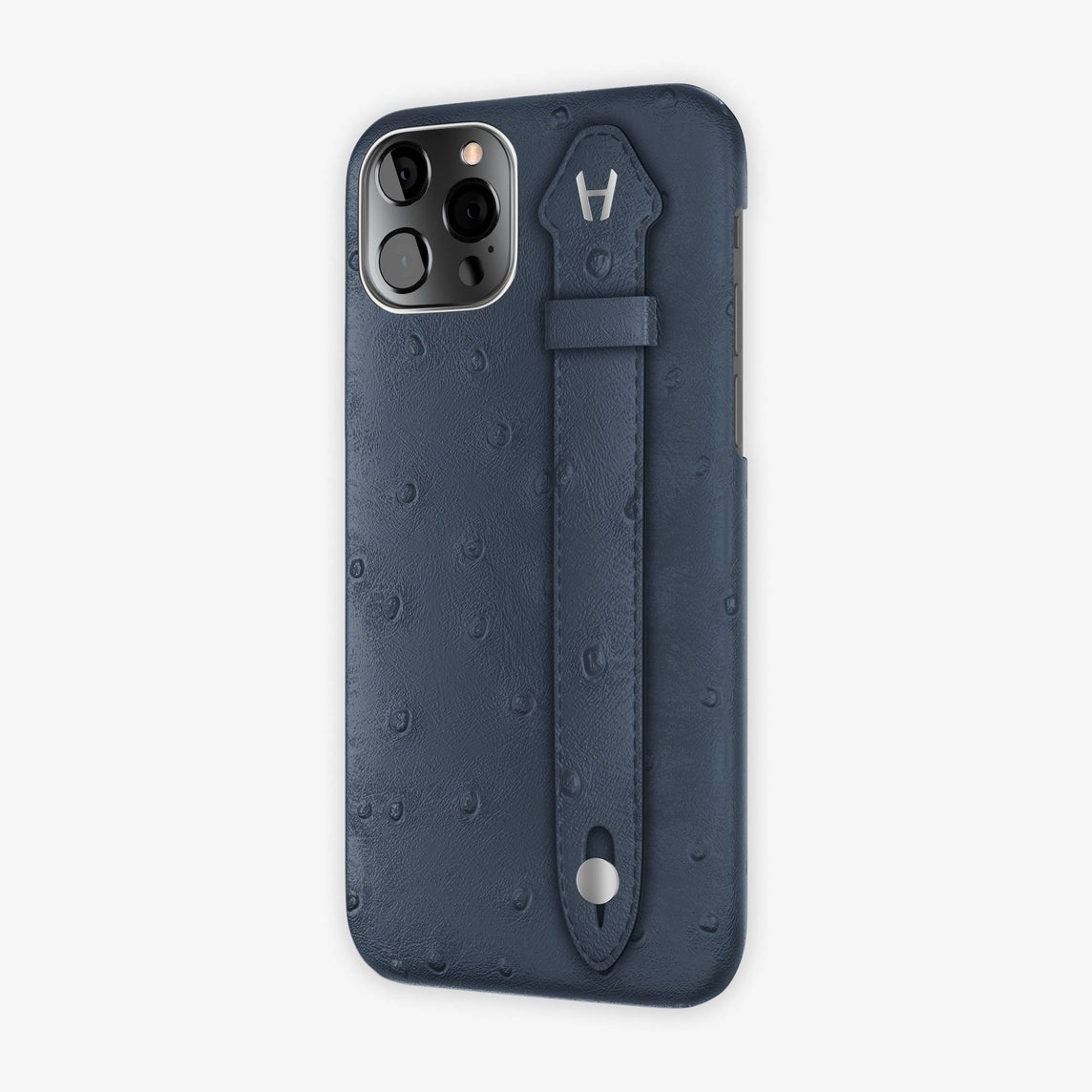 Ostrich Side Finger Case iPhone 12 Pro | Navy Blue/Navy Blue - Stainless Steel