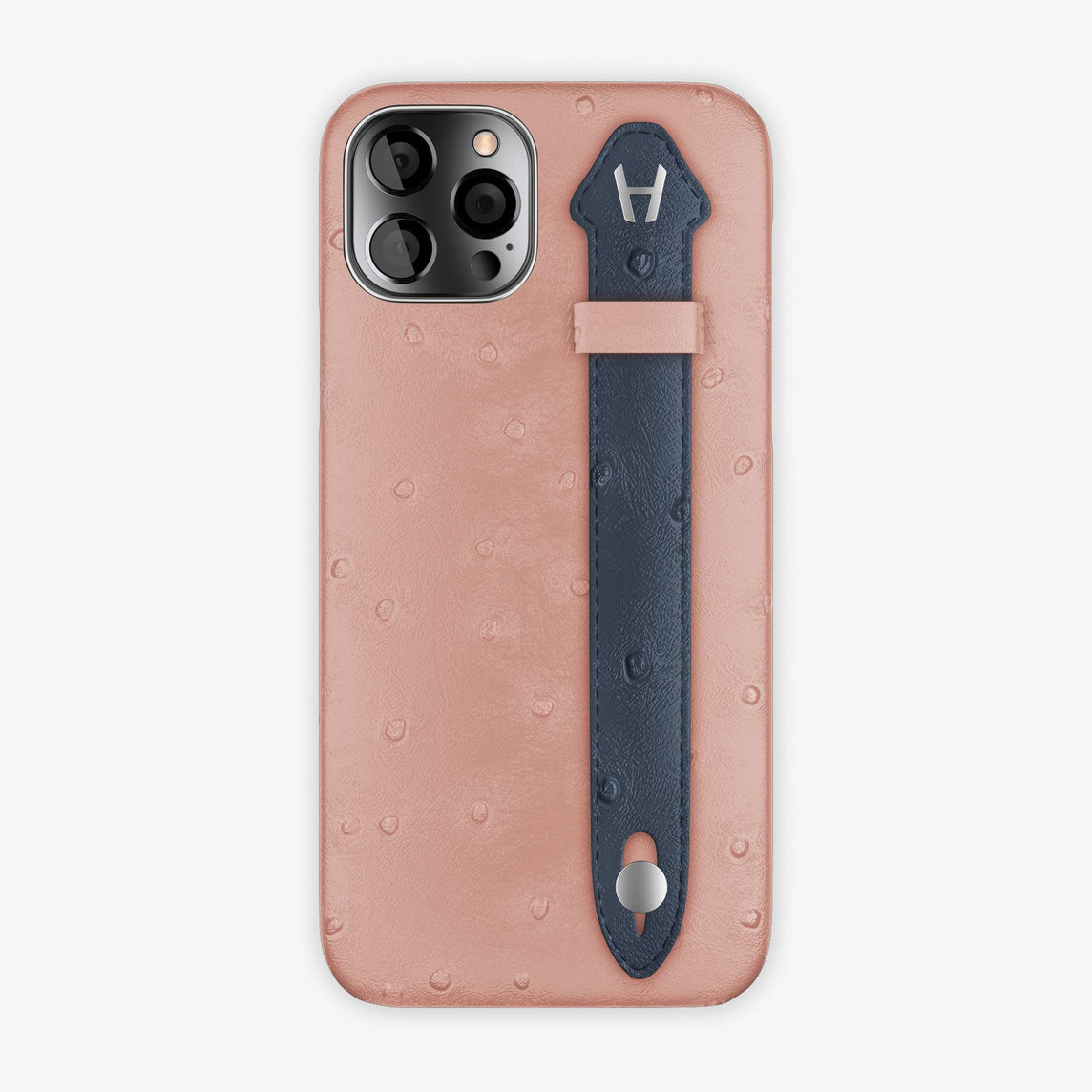 Ostrich Side Finger Case iPhone 12 Pro | Pink/Navy Blue - Stainless Steel