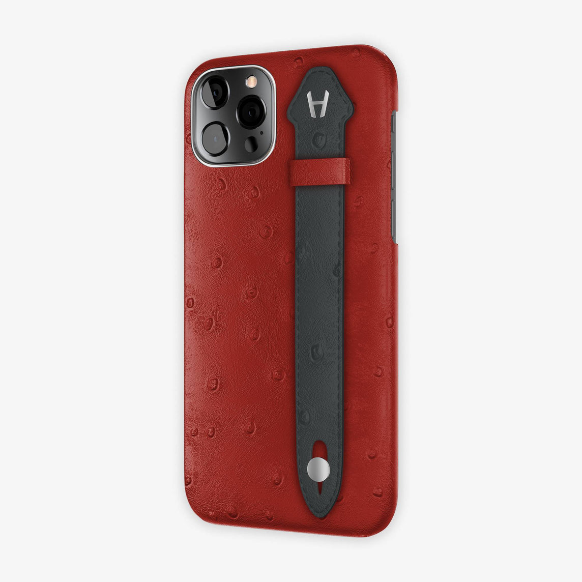 Ostrich Side Finger Case iPhone 12 Pro | Red/Anthracite - Stainless Steel