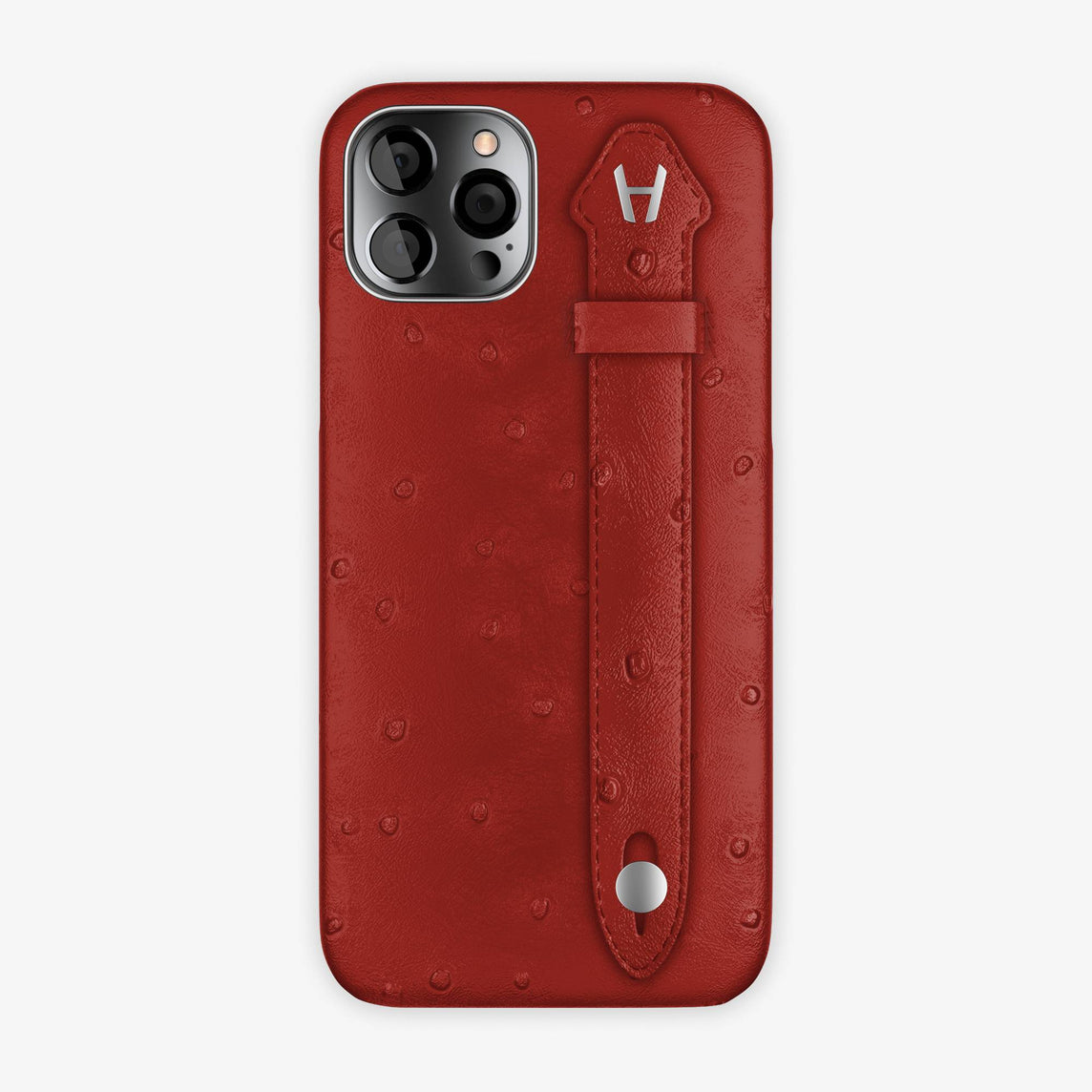 Ostrich Side Finger Case iPhone 12 Pro | Red/Red - Stainless Steel