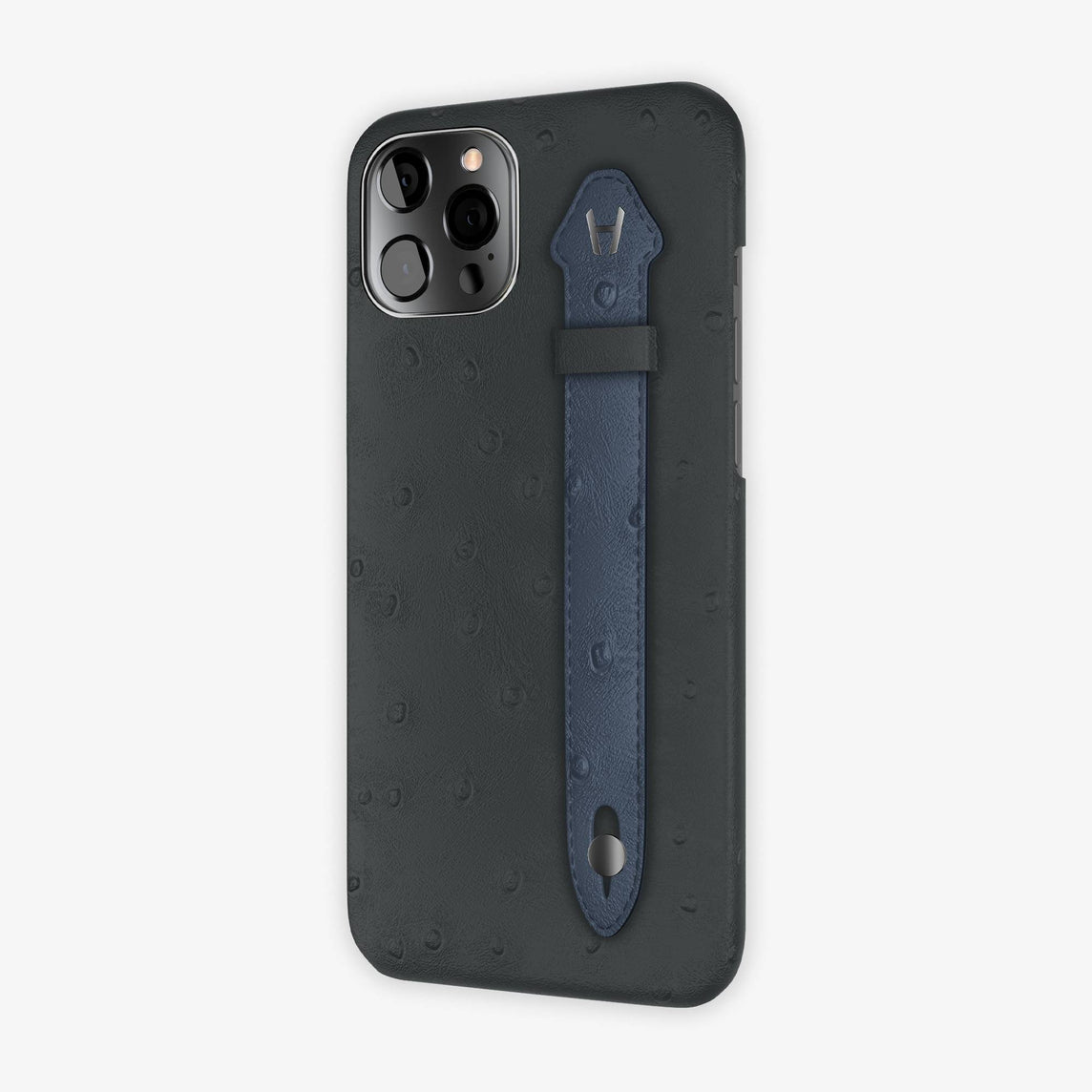 Ostrich Side Finger Case iPhone 12 Pro Max | Anthracite/Navy Blue - Black