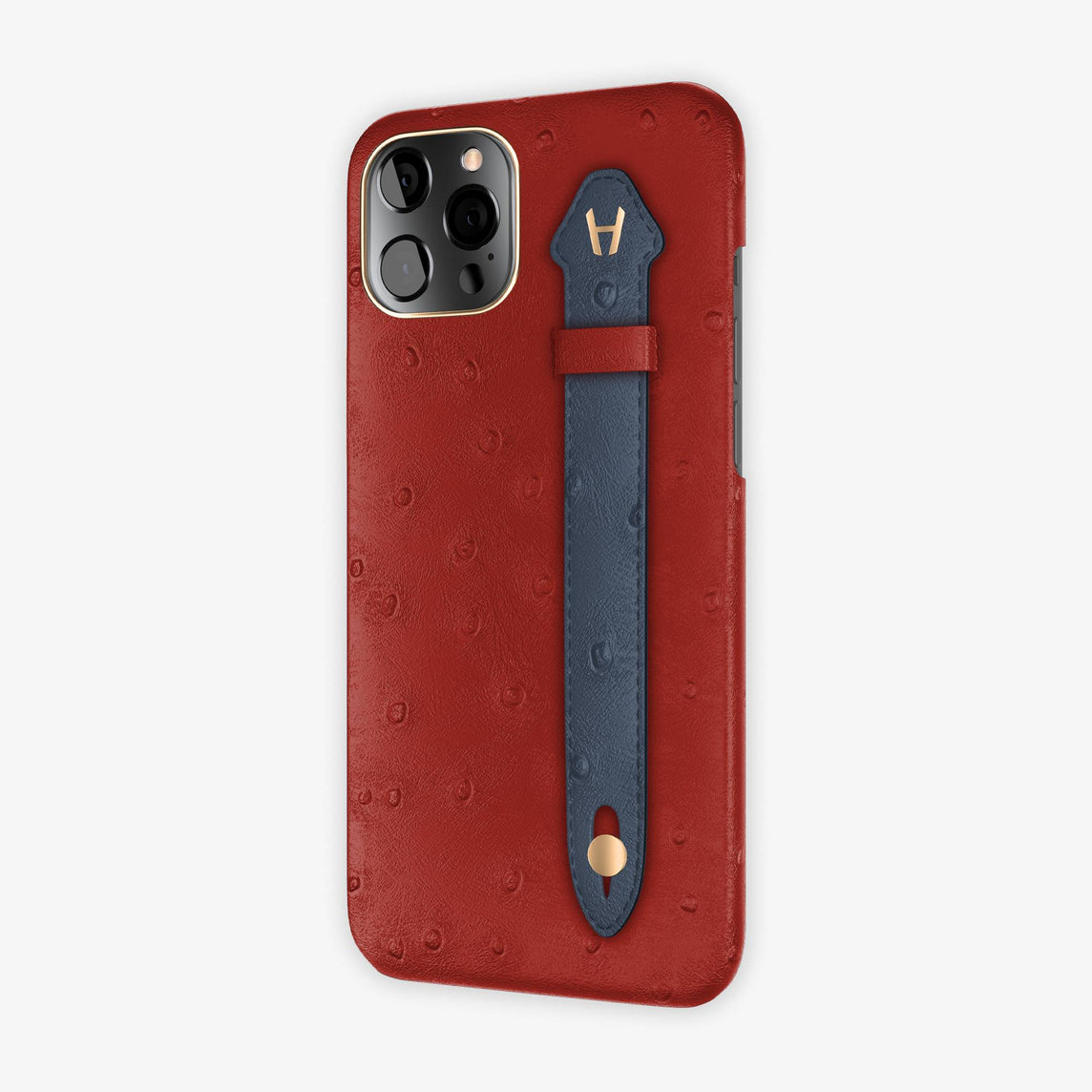 Ostrich Side Finger Case iPhone 12 Pro Max | Red/Navy Blue - Rose Gold