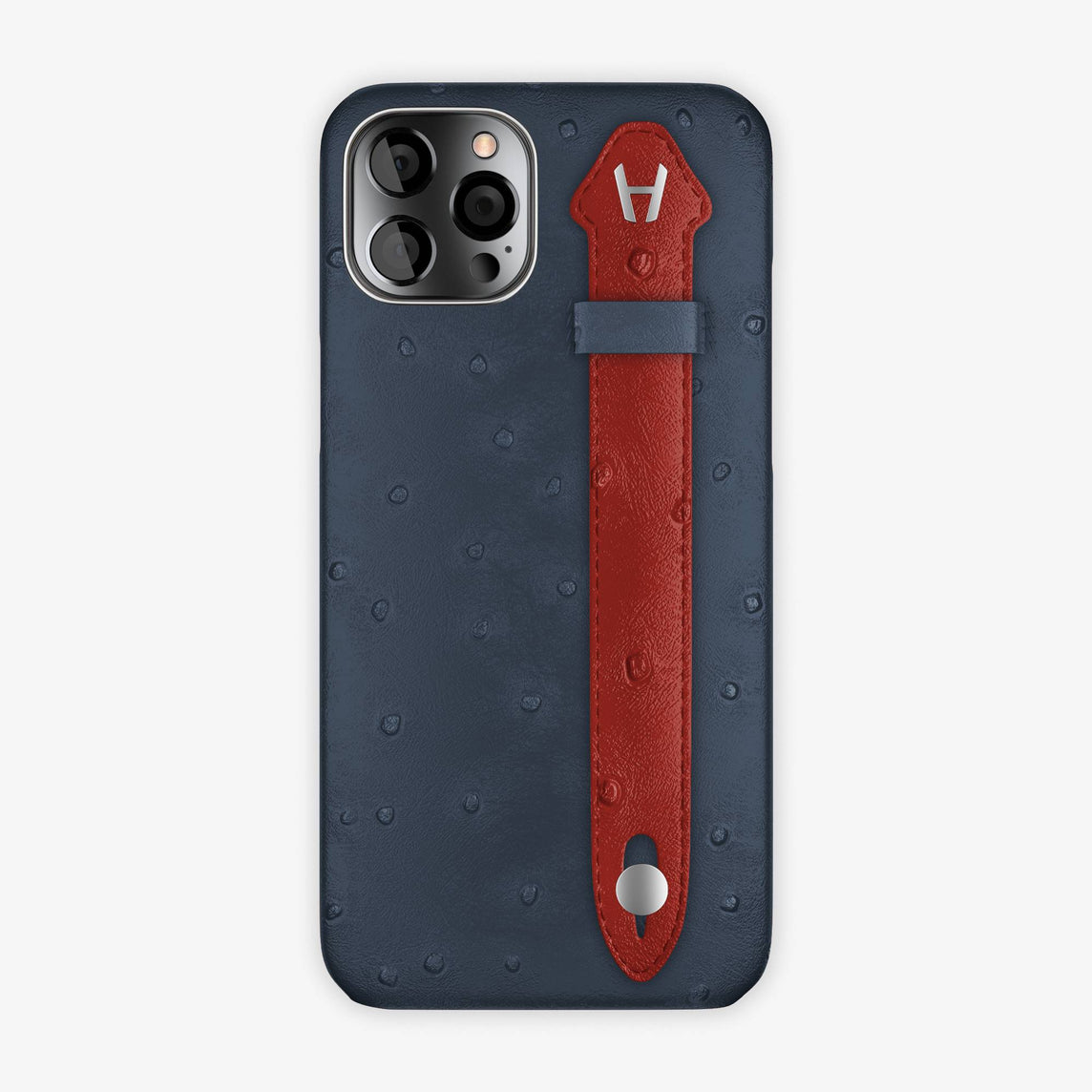 Ostrich Side Finger Case iPhone 12 Pro Max | Navy Blue/Red - Stainless Steel