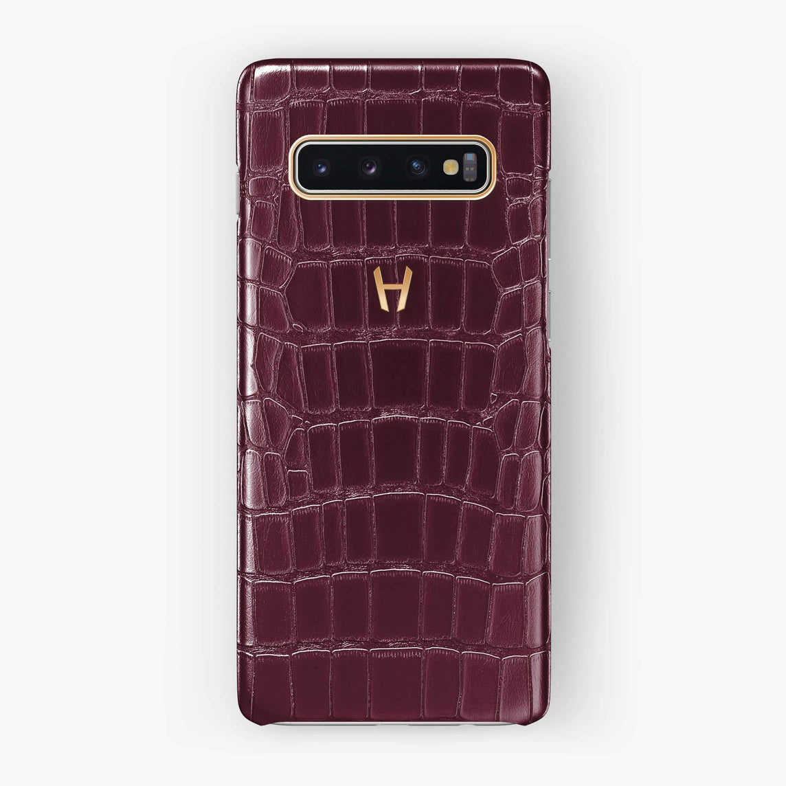 Alligator Case Samsung S10 | Burgundy - Rose Gold